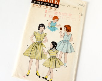 Vintage 1950s Girls Size 8 One Piece Full Skirt Dress Butterick Sewing Pattern 7002 Complete / breast 26 waist 23