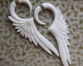 CELESTE - Fake Gauge Earrings - Hand Carved White Bone Wings - Organic Tribal Jewelry