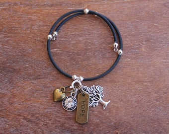 Hope Memory Wire Charm Bracelet