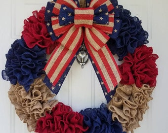 Patriotic Burlap Wreath;4th of July wreath;Memorial Day Wreath;Front door wreath;Home Decor;holiday decor;Americana;Flag;red white blue;