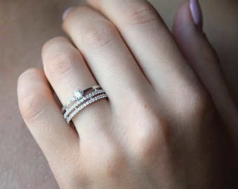 Merveilleux Silver Wedding Band, Women Wedding Band, Silver Wedding Ring, White Stone  Ring,