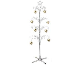 Metal Artificial Christmas Tree Ornament Display Rotating Stand 74inch Silver Color