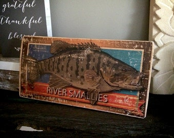 "River Smallies (smallmouth bass) Rustic illustrated Wood Sign 10"" x 5.25"""