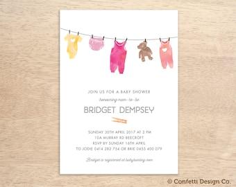 Custom Baby Shower Invitation - Cute Baby Clothesline - Watercolour Illustration - Baby Girl - DIY printing