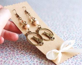 Cat Earrings for Cat Lovers Gift. Hipster Cat Earrings for her. Cat Animal earrings. Dangle Earrings. Lolita Cat love. Kitten accessories
