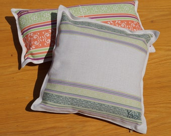 linen decorative pillow 45x45cm handmade with Greek motif