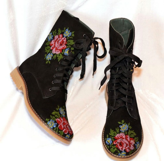 Retro Boots, Granny Boots, 70s Boots Urban Booties  Boho Ankle Boots  Urban Flower Boots  Festival Boots  Ankle Boots  Flower embroidery Lace up Booties $235.00 AT vintagedancer.com