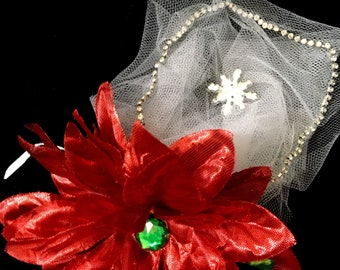 Shimmery Red Poinsettia with Rhinestones & Tulle