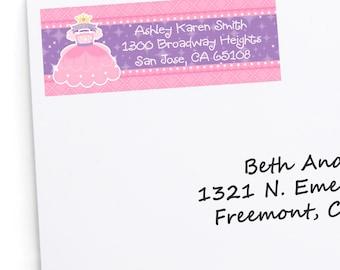 Princess Address Labels - Personalized Return Address Sticker - 30 Count