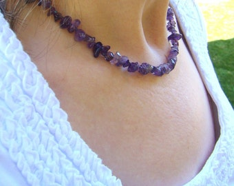 Beaded Purple Amethyst Necklace // Gemstone Jewelry // Beaded Necklace // Amethyst Jewelry // Gift for Her - BJ0023