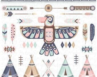 Tribal pack «TRIBAL CLIP ART», originaire de Thunderbird, tipi, tentes, plumes, flèches, aztèque, frontières, clipart indien, mariage. Tribal003