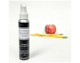 Teacher Appreciation Gift, Personalized, Room or Linen Spray, Aromatherapy Spray, Essential Oils, All Natural, Lavender, Orange, Bergamot