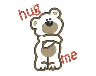 Hug me teddy bear applique machine embroidery design Instant Download