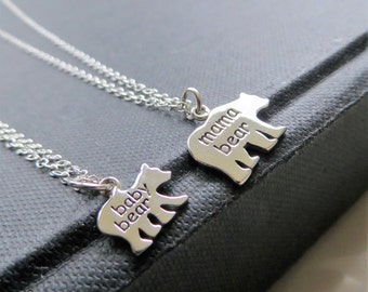 Mama & baby bear necklace, sterling silver mother daughter set, mommy and me, first day of kindergarten