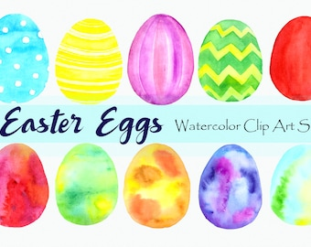 Watercolor Easter Eggs Clip Art Set