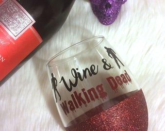 Wine & Walking Dead Stemless Glitter Wine Glass // Glitter Glass // Stemless Wine Glass //The Walking Dead // WD // Glitter Cup