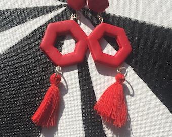 Red Hexagon Tassel Earrings // Polymer Clay Earrings // Statement Earrings // Big Bold Earrings // Bright Earrings // Geometric Earrings