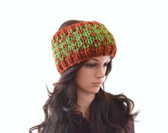 Chunky Fair Isle Nordic Style Knitted Ear Warmer, Woman Knit Headband, Ski Ear Warmer | The Etah