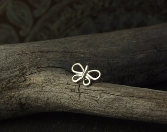 Eco Sterling Silver Butterfly / Moth Nose Stud // Choose wire gauge 22g 20g 18g //