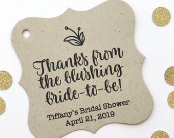 Thanks from the Blushing Bride-to-Be Wedding Favor Tags, Custom Wedding Tags, Custom Wedding Hang Tags  (FS-301-2-KR)