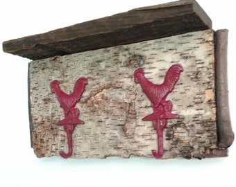 Rustic Birch Bark Rooster Coat Rack  Free Shipping!