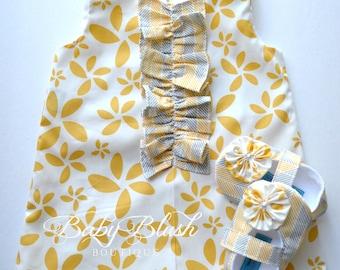 Yellow Floral Dress/Shoes Set