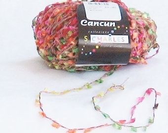 Cancun 99, Stacy Charles, novelty yarn, flags, lemon, pink, lime, orange, effect yarn, destash