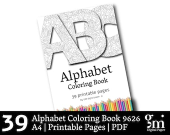 Coloring Book, Alphabet Coloring Pages, Coloring Book Pages, Printable Coloring Pages,  Alphabet Coloring Pages, Xmas Gift, Instant Download