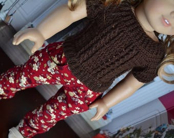 18 inch Doll Clothes - Crocheted Cable Sweater - Chocolate Brown  - MADE TO ORDER - fits American Girl