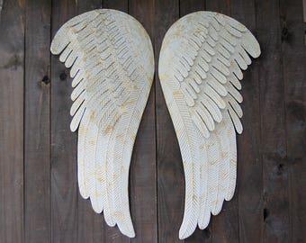 Large Angel Wings Wall Decor, Shabby Chic, Ivory, Gold, Metal, Rustic, Hand Painted, Shabby Chic Decor, Boho, Wedding, Nursery Decor