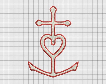 Anchor Heart Cross Faith Hope Love Embroidery Design in 2x2 3x3 4x4 5x5 and 6x6 Sizes