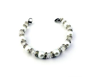 Medical ID Elegent Pearl Bead Interchangeable Bracelet