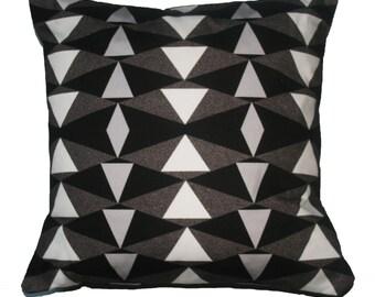 Monochrome Geometric Print Pillow Printed Cushion