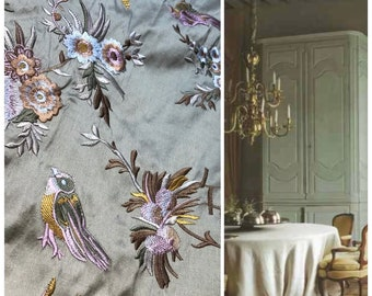 Designer 100% Silk Taffeta Embroidered Birds and Floral Drapery Fabric - Sea Foam Green and Gold - Sold By The Yard