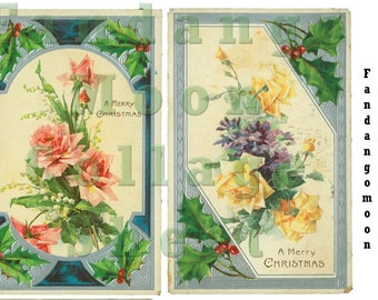 Christmas Roses and Holly Antique Postcard Digital Collage Sheet