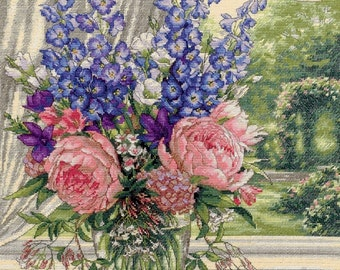 Counted Cross Stitch Dimensions KIT Peonies Delphiniums 16x19 -Free US Shipping!!!