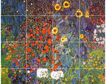 """Gustav Klimt Farm Flowers Poppy Sunflower Daisy Cornflowers 608mm x 608mm 24"""" x 24"""" square ceramic tile mural mosaic wall art splash back"""