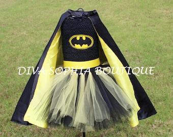 Batman Tutu Dress with Cape / Batgirl Tutu Dress/ Costume & Batgirl costume | Etsy