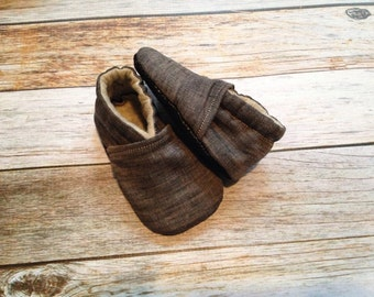 Stonewashed Black Linen Baby Shoes - Size 0-18 Months, Trendy Baby Shoes, Modern Baby Shoes, Booties, Crib Shoes, Soft Sole, Baby Moccs