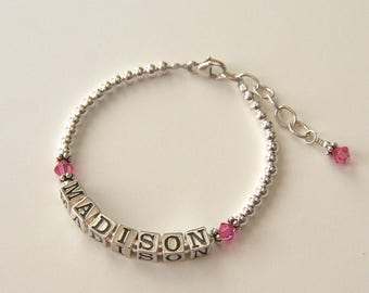 Personalized baby gifts etsy personalized baby bracelet child toddler baby name bracelet jewelry sterling silver simple dainty baby birthstone bracelet negle Image collections