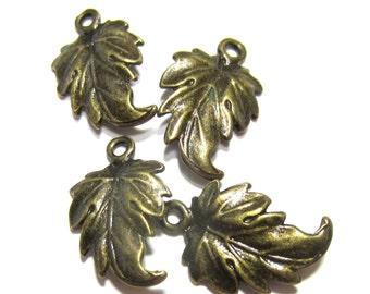 16 Antique bronze leaf charms earring dangles pendants drops jewelry making pendants bronze jewelry connectors 19mm x 12mm A1191 (CC3)