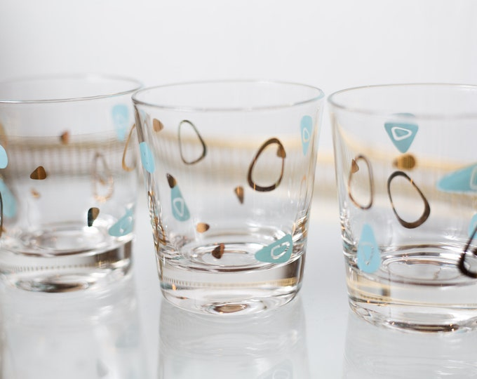 4 Space Age Tumblers - 50's Turquoise, Gold Federal Atomic Amoeba Boomerang Short Water Glasses - 8oz Fine Blow Glass with Metallic Decal