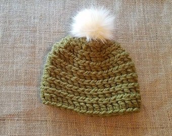 Crochet adult beanie, army green, olive. Cream color faux fur pompom
