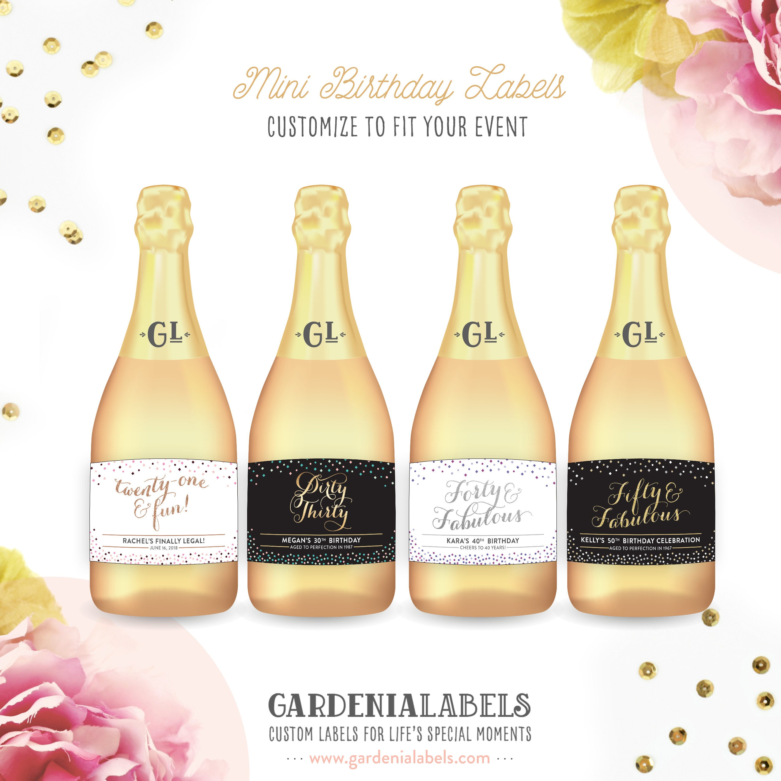 Mini Champagne Birthday Labels Dirty Thirty Mini Label 21st