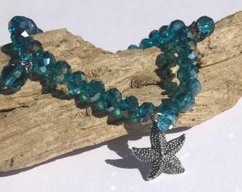 Deep Turquoise AB Austrian Crystal Starfish Charm Bracelet