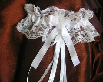 White (or ivory) lace bridal garter