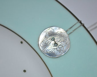 Fine Silver Vintage Button Necklace, Recycled Silver Necklace, Button Pendant, Sewing Necklace