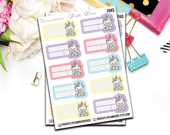 f043 | Unicorn Bill Due // Functional Planner Stickers