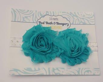 Turquoise Baby Headband- christmas headband, baby head band, shabby flower headband, cake smash photo prop, baby shower gift, baby girl