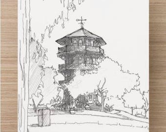 Ink sketch of the Pagoda in Patterson Park, Baltimore, Maryland - Drawing, Art, Architecture, Pen and Ink, Trees, 5x7, 8x10, Print
